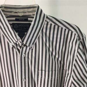 American Rag Dark Gray Striped Button Up